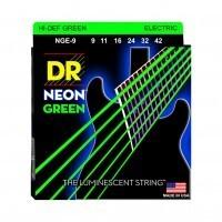 DR STRING NGE-9 | Cuerdas para Guitarra Eléctrica Neon Hi-Def Green Calibres 9-42