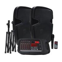 "VMR AUDIO PAK-8010D | Sistema PA completa: 2 Bafles de 10"" + consola potenciada + trípodes + micrófono + cables"